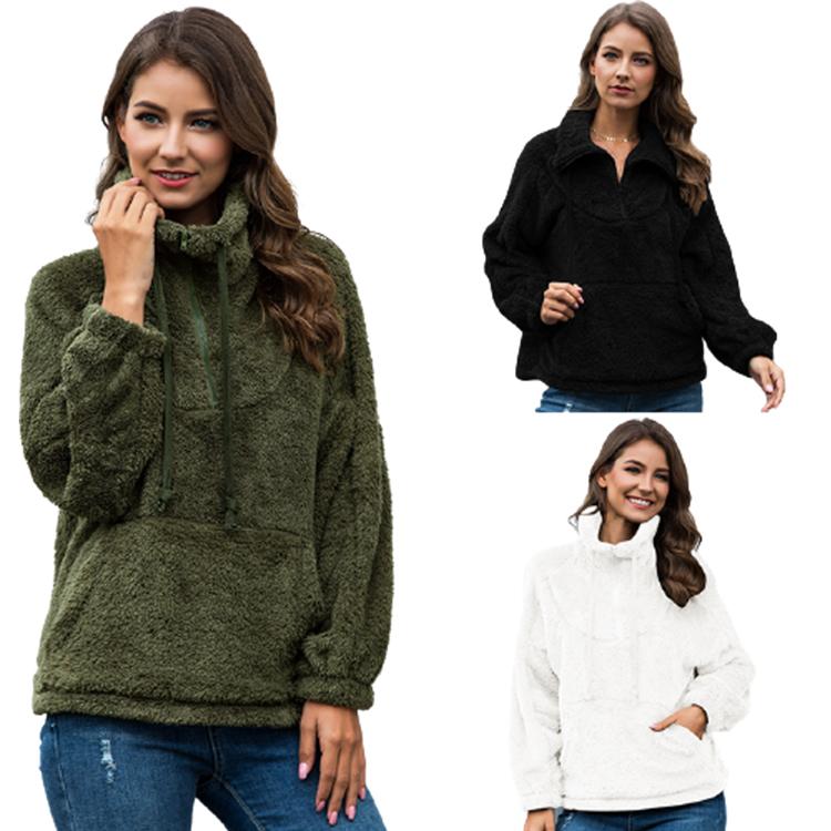 Chaqueta de Invierno para mujer, chaqueta de lana de oveja de felpa, borreguillo de imitación, borreguillo, borreguillo, esponjoso, informal, con bolsillos, 2020