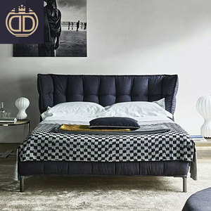 modern European high end modern light grey leather bed unique soft padded headboard concise modern fabric bed