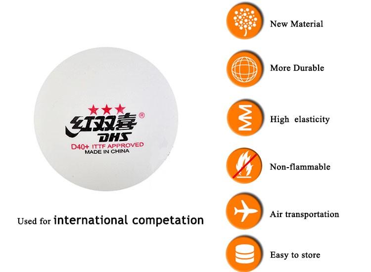 DHS 3 star table tennis ball D40+ professional player pingpong ball