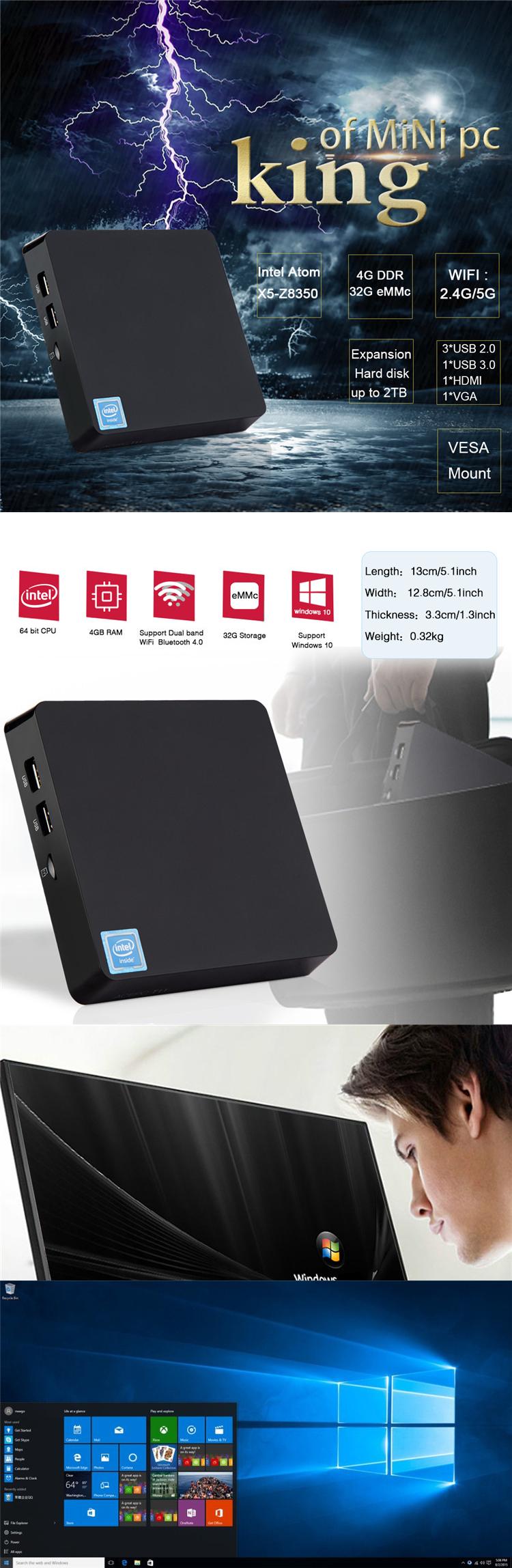 t11 z8350 4gb lpddr3 32gb industrial fanless gaming firewall windows10 motherboard intel mini pc computadores portatil