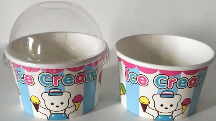 โลโก้ที่กำหนดเองพิมพ์กระดาษทิ้งโยเกิร์ตแช่แข็งถ้วยไอศกรีมถ้วยกระดาษ