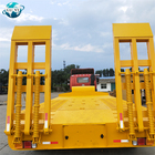 High Quality Heavy Duty Lowboy Lowbed Trailer Transport Heavy Machine Low Bed Truck Semi Trailer With Mechanical Ladder