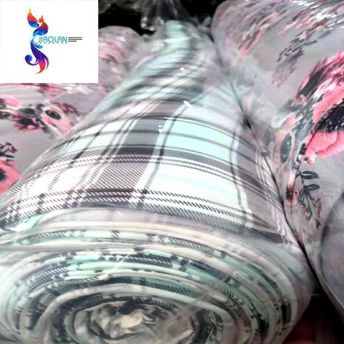 polyester DTY brush print grid designs stock fabric