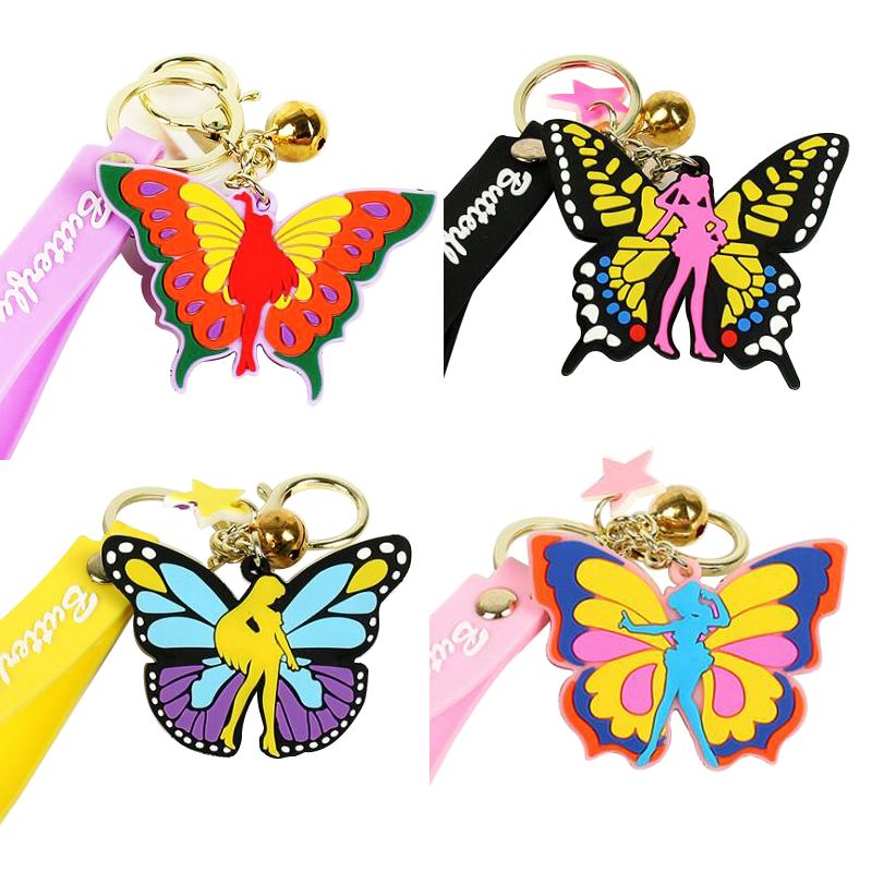 Factory cheap giveaway custom shaped die cut soft pvc rubber 2d keychain / keyring