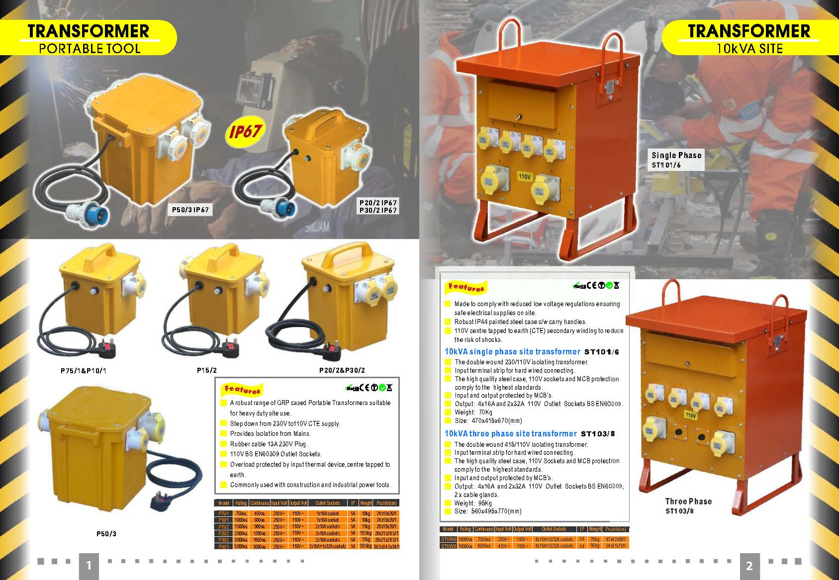 3.3KVA Portable Transformer for Site Power Tools 110Volts Heavy Duty Transformer