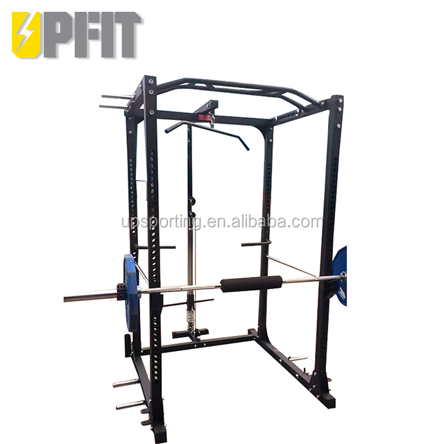 UPSPORTING  Commercial Fitness Gym Equipment Power Half Squat Rack with Lat Pully Attachment