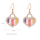 Rose Gold Earrings Customize Love Heart Colorful Cubic Zirconia Rose Gold Plated Drop Hook Earrings