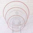 8'' 10'' 12'' wholesale rose gold rim glass charger plates dinnerware set
