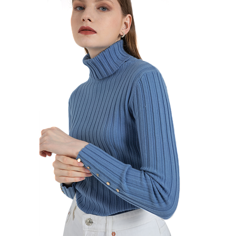 Most Good Feedback Product Top Quality Delicate Blue turtle Neck Knitted Pullover Sweater