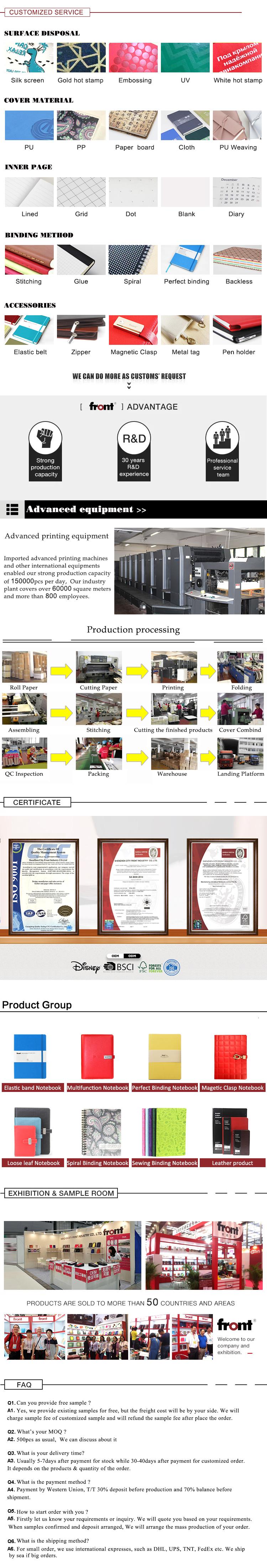 Stationnaire professionnel Tissu Couverture journal A5 Cahier à couverture souple Personnalisé journal Personnalisé 55g papier cahiers
