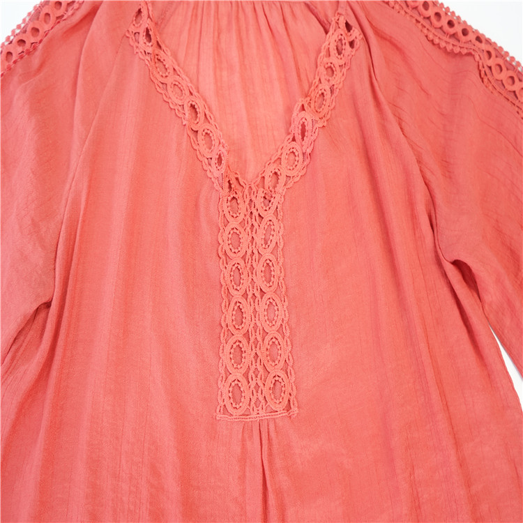 New arrivals autumn 100% polyester quick dry red ladies fashion lace blouse
