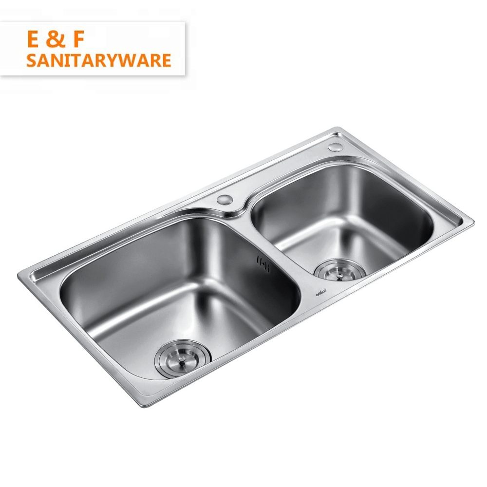 Best Price Farmhouse 22.5 cm Depth Double Bowl Stainless Steel Brushed Kitchen Sink