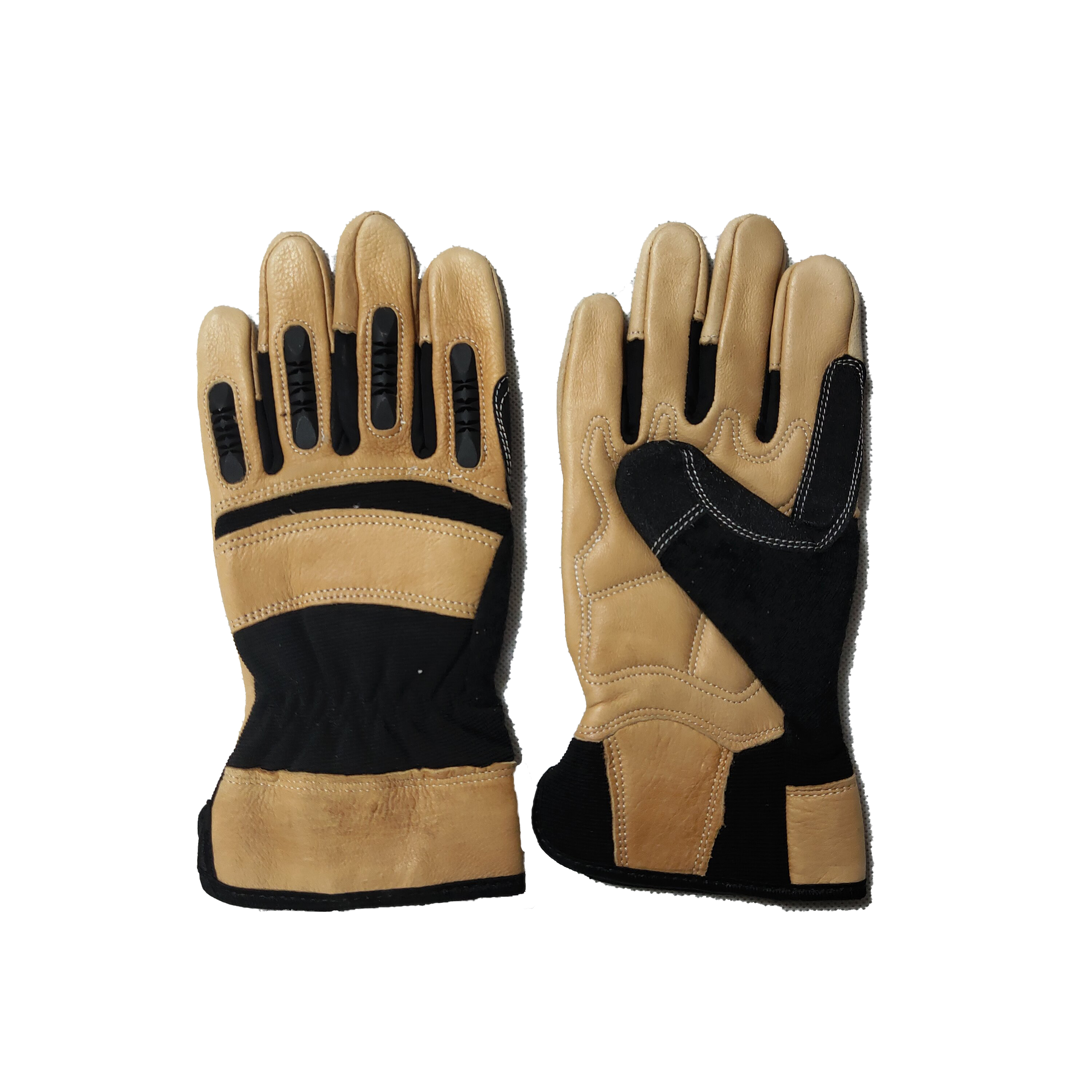 Winter cow leather Palm Patch Ottoman Knitted Mechanical safety working impact resistant Gloves