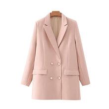 Женский двубортный Блейзер KPYTOMOA, винтажный пиджак с длинными рукавами и карманами, верхняя одежда для офиса, 2020(Китай)