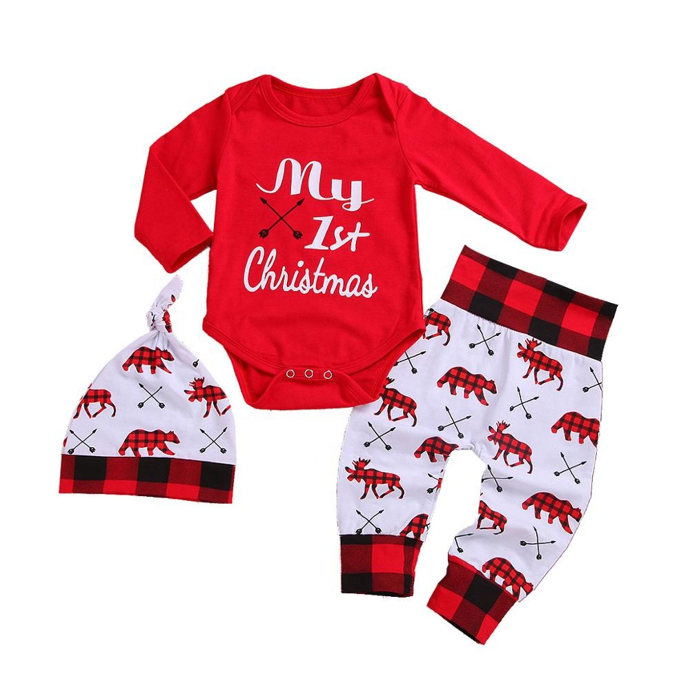 Newborn infant romper pants hat toddler cartoon deer long sleeve outfit my <strong>first</strong> <strong>Christmas</strong> 3pcs <strong>baby</strong> clothes set