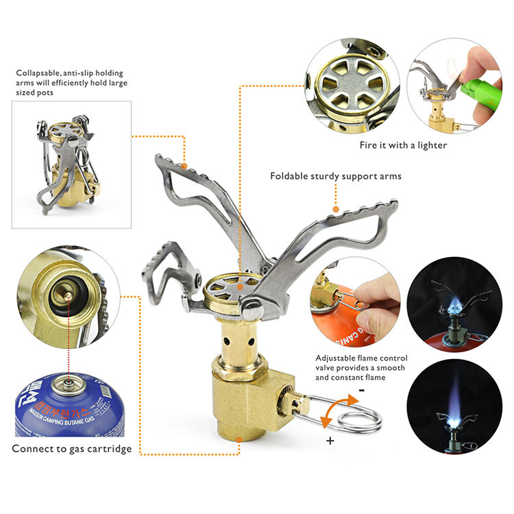 HOMFUL Pocket Backpacking Cooking Gas Stove Ultralight Folding Camping Stove Mini