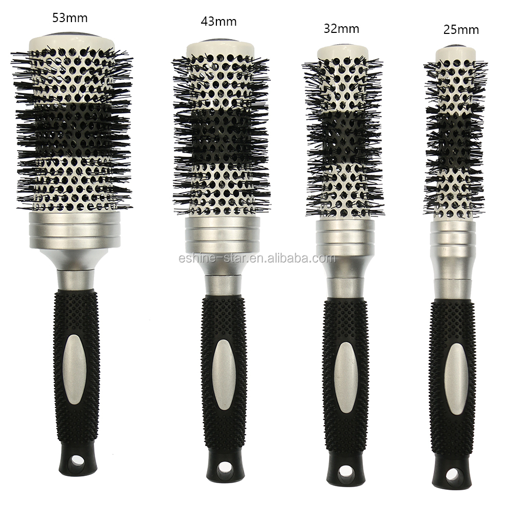 hot selling color changed concave design prosonalized heat round ceramic ionic thermal hair brush
