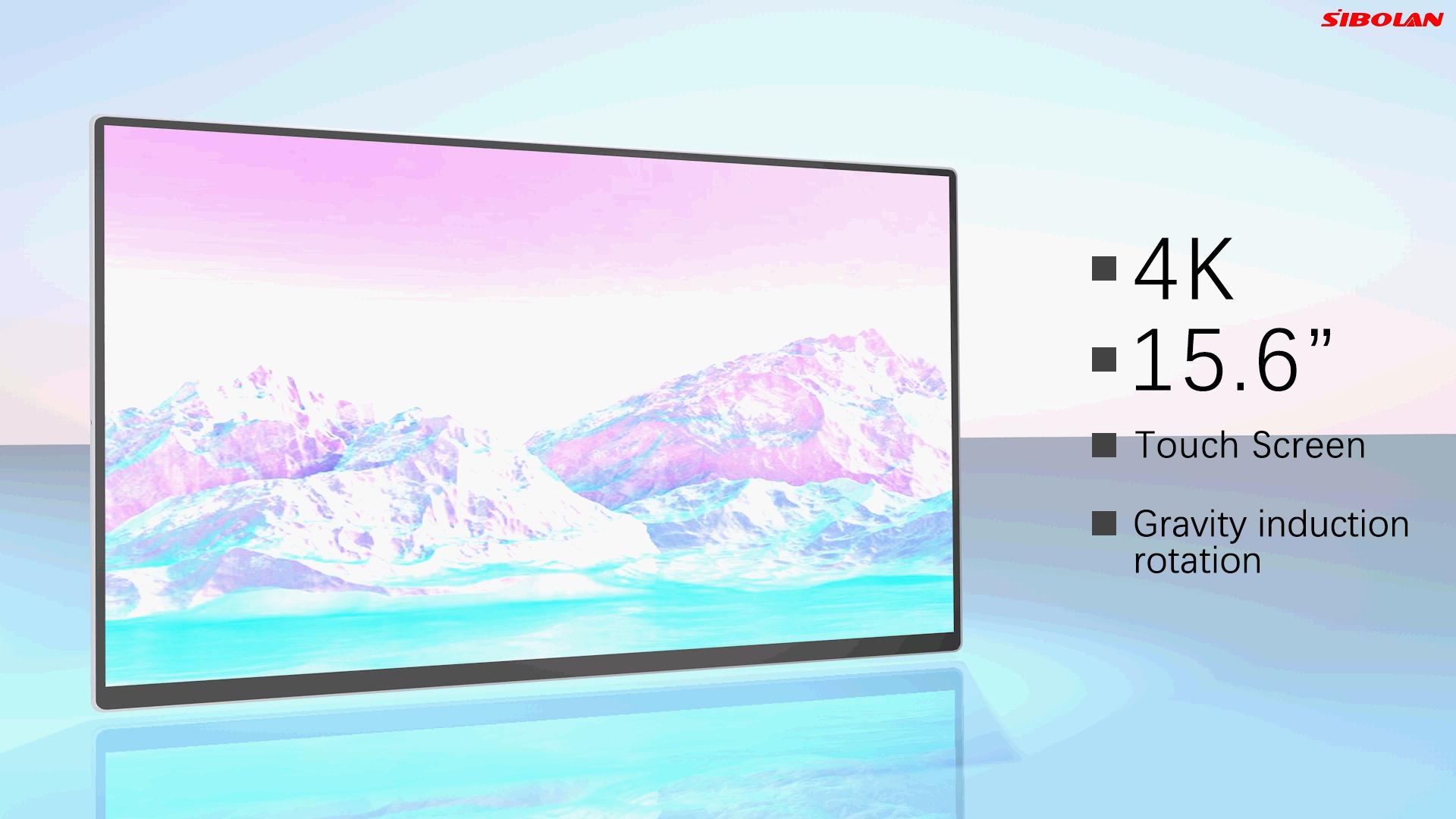 Sibolan 자동 회전 led 스크린 ips 터치스크린 휴대용 모니터 유형 c 4k 15.6 인치 노트북 스마트 폰 pc ps5