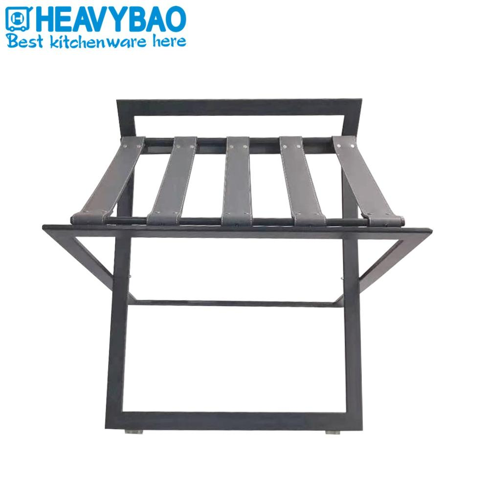 Heavybao Hot Sell Hotel And Restaurant Stainless Steel Universal Luggage Rack With PU Leather Belt