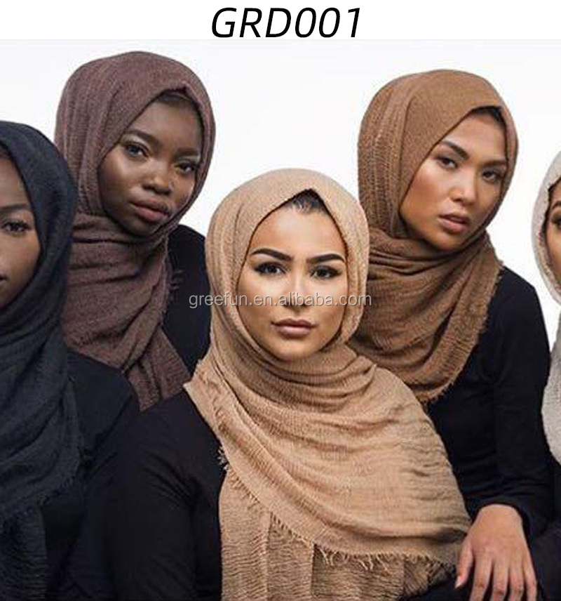 High Quality Fashion Long Women Crinkle Hijab Muslim Crinkle Scarf with pearl Fashion cotton and linen sequin Muslim hijab scarf
