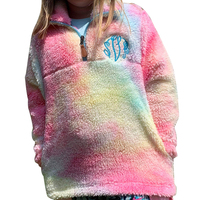 New Arrived Tie Dye Colorful Sherpa Pullover Zipper-up Rainbow Hoodies