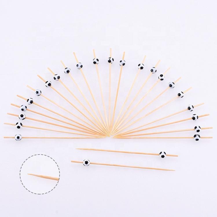 18MM Décoration Jetable 100% Naturel Mao Bambou Petite Mince BBQ Fruits Pics Alimentaires Bâton de Brochette Avec perle de Football