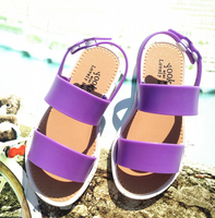 Fashion latest beautiful flat children jelly sandal for kids girl