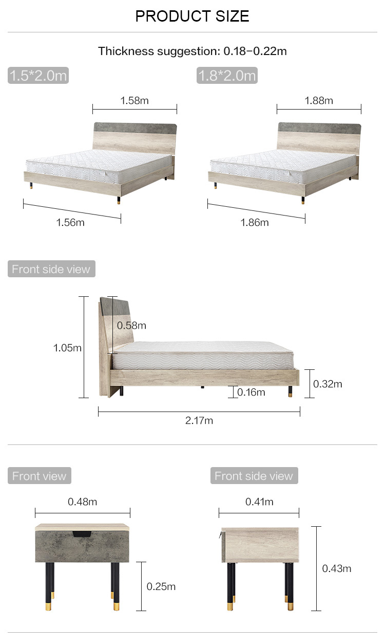 Wholesale Factory Price Wooden Furniture Bed Designs Double Solid Wood Beds