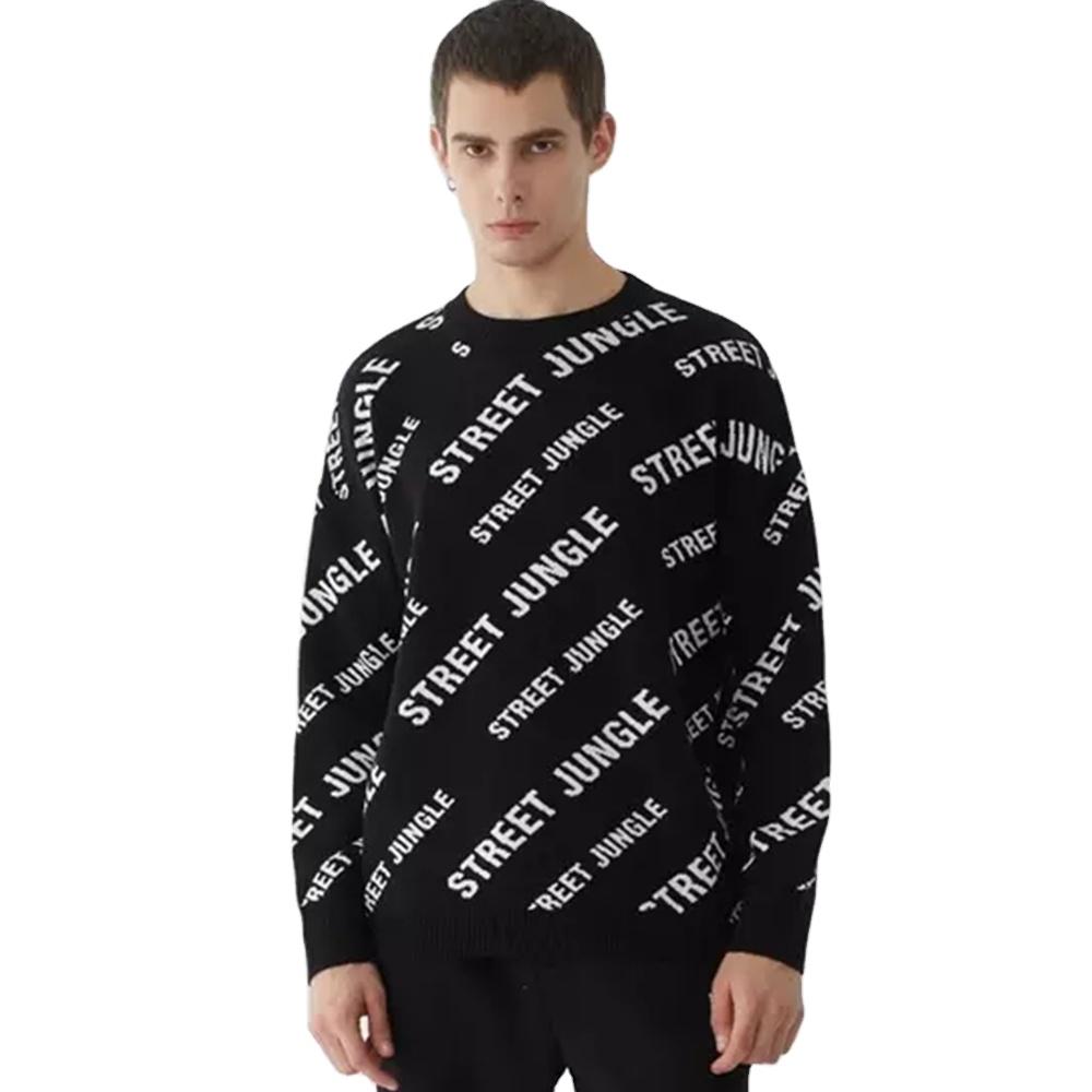 2021 Custom LOGO OEM & ODM pullover letter Jacquard Long Sleeve Knitted Sweater men long sleeve knit sweater men