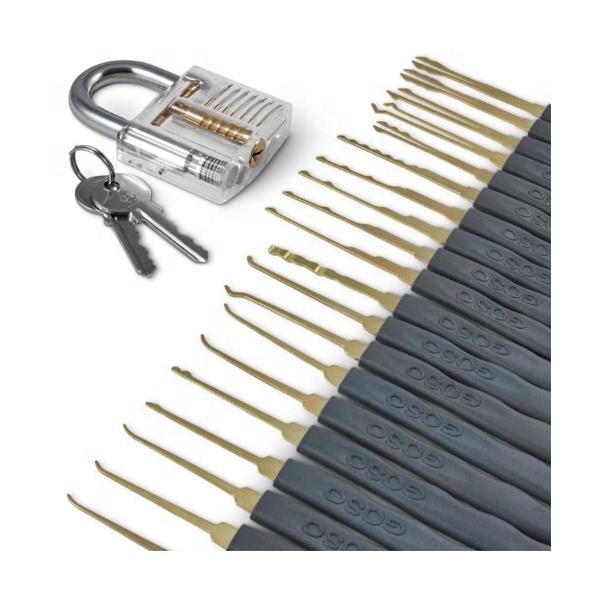 goso 24pcs Single Hook Lock Pick Set with 1Pc Transparent Practice Training Skill Set picking set professional locksmith tool