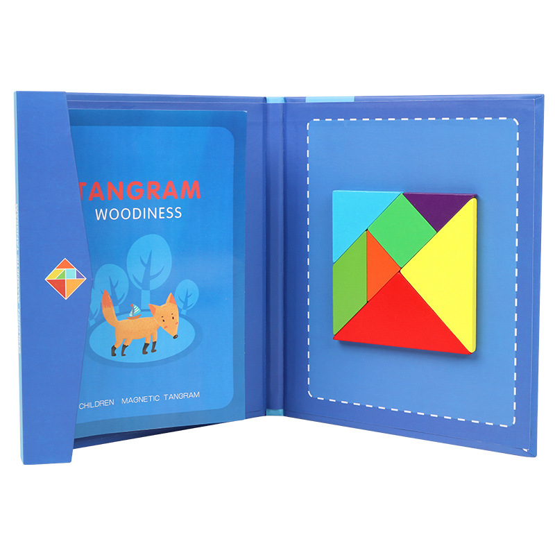 Children Educational 7pcs Colorful Magnetic Tangram Toys Eco-friendly Wooden Puzzle Book