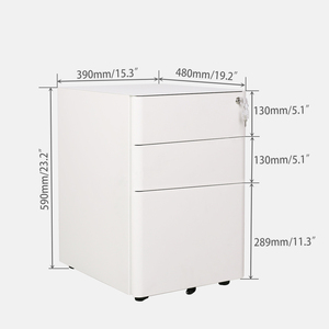 Movable 3 Drawer Pedestal metal filing Cabinet For Office Equipment