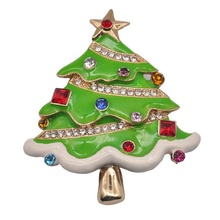 Mengmingna 2019 fashion <span class=keywords><strong>emaille</strong></span> sieraden kerstboom enamel glazuur sieraden crystal broches