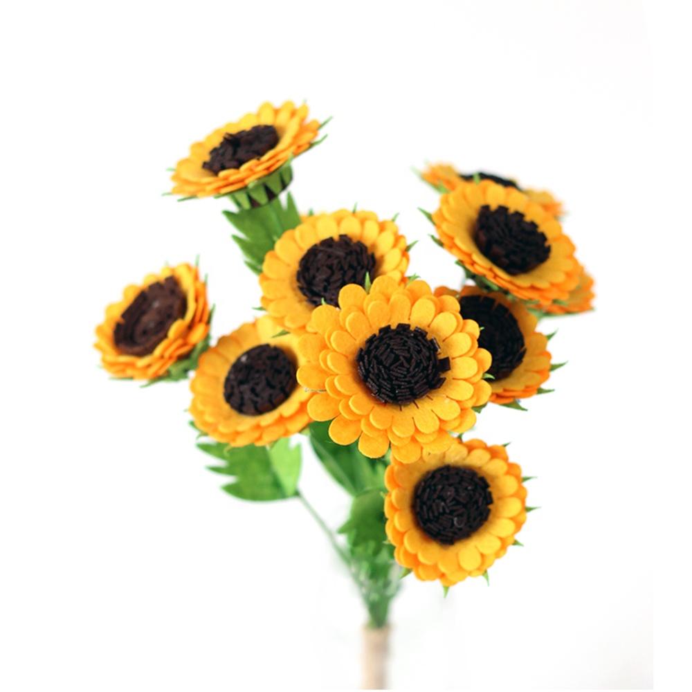 부직포 펠트 DIY 공예 키트 수제 장식 인공 가짜 꽃 만들기 해바라기 꽃다발