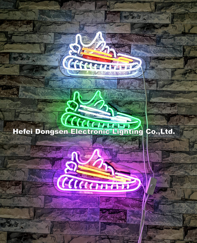 Hand make decoration glass neon sign shoe