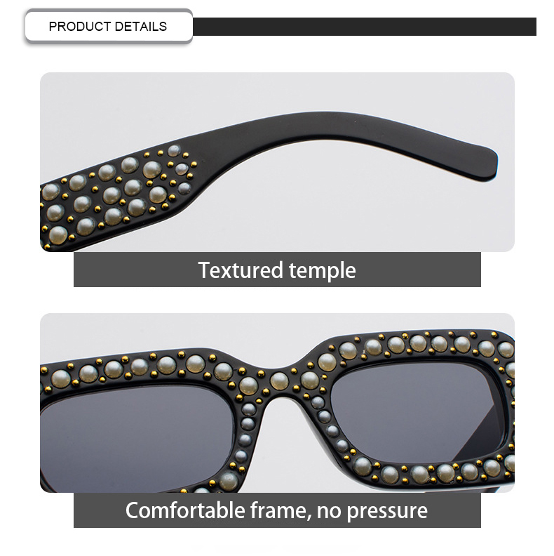 Customized Logo High Quality Diamond Pearl Square UV400 Women SunGlasses