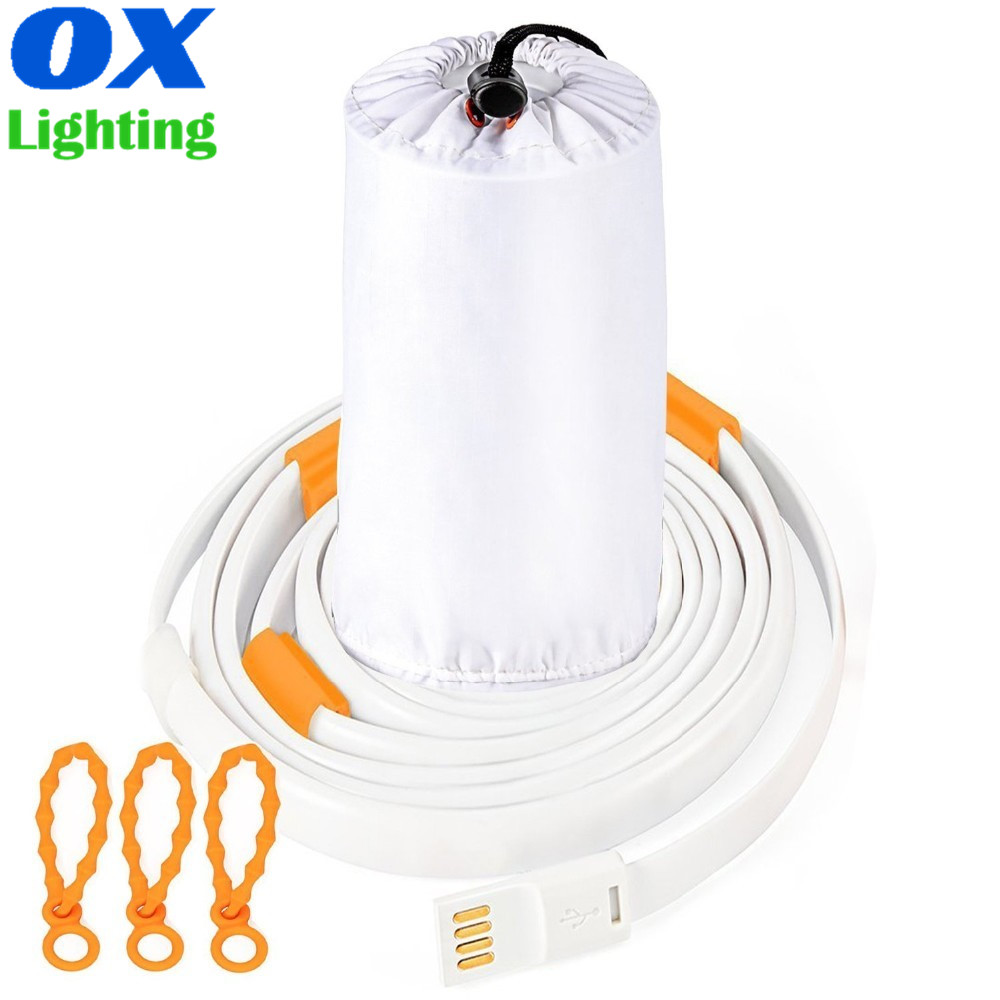 Camping Light Strips Waterproof USB Powered LED Light Rope for Camping Hiking Lantern