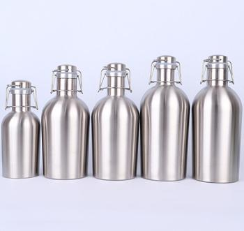 Stainless Steel Beer Growler, single walled 64 Oz stainless steel beer Bottle Growler with Secure Swing Top Lid for Freshness