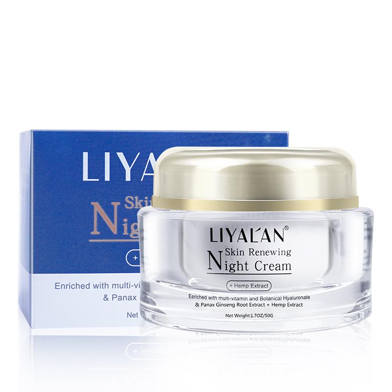 LIYALAN private label natural organic skin care anti aging whitening face night cream with hemp extract