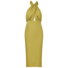 HQBORY женская одежда 2020 летнее платье с лямкой через шею светло-зеленое платье средней длины для вечерние сексуальное вечернее платье в стиле...(Китай)