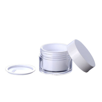 High quality 15g 30g 50g double wall white plastic cream jar with white lid