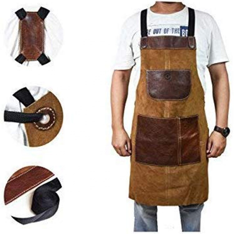 AFTAYWTA034 Heavy Duty Carpenter Work Custom Garden Men's Apron With Tool Pocket Make Of Canvas & Leather