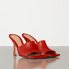 Женские шлепанцы из натуральной кожи Meotina, летние босоножки на тонком каблуке, шлепанцы из натуральной кожи на очень высоком каблуке(Китай)