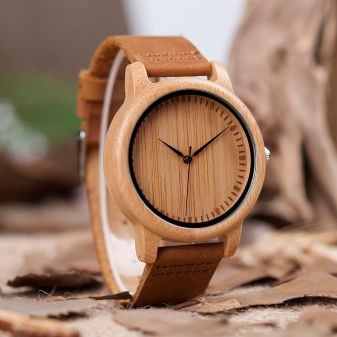 Belt Road Men Women Bamboo Wooden Watch with Genuine Brown Leather Strap Wrist Watch