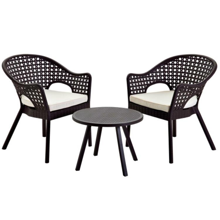 De ratán de patrón de plástico al aire libre muebles de mimbre, mesas de comedor Silla de ocio 3 piezas Juego de Bistro