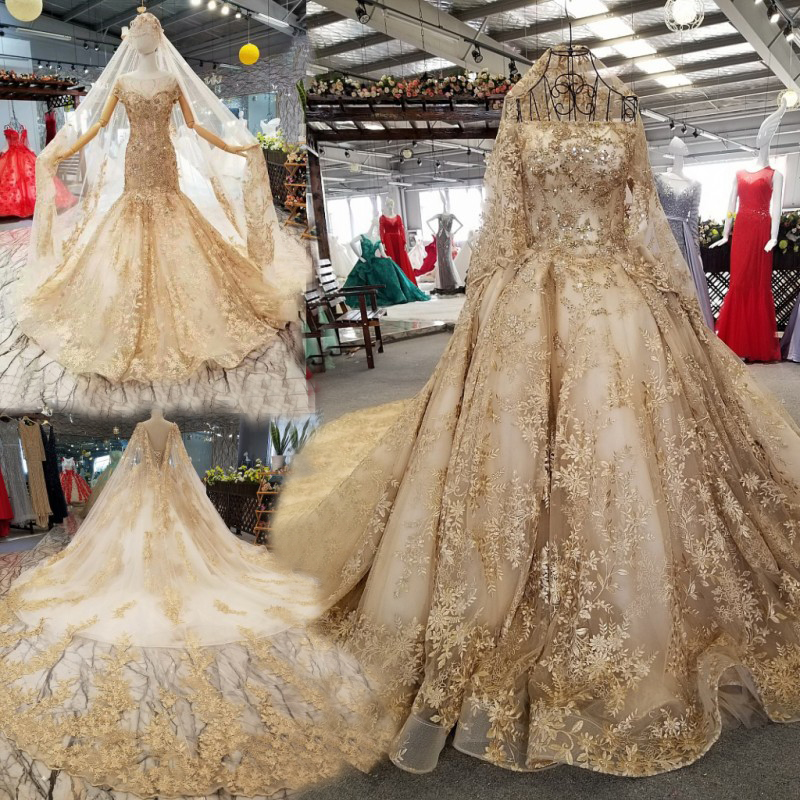 Luxury Mermaid Ball Gown Gold Lace And Tulle Arabic Bridal Wedding Dresses Dubai Islamic Gown With Long Sleeve Buy Arabic Bridal Wedding Dresses Arab Wedding Dress Islamic Gown Arabic Wedding Dresses Dubai Product