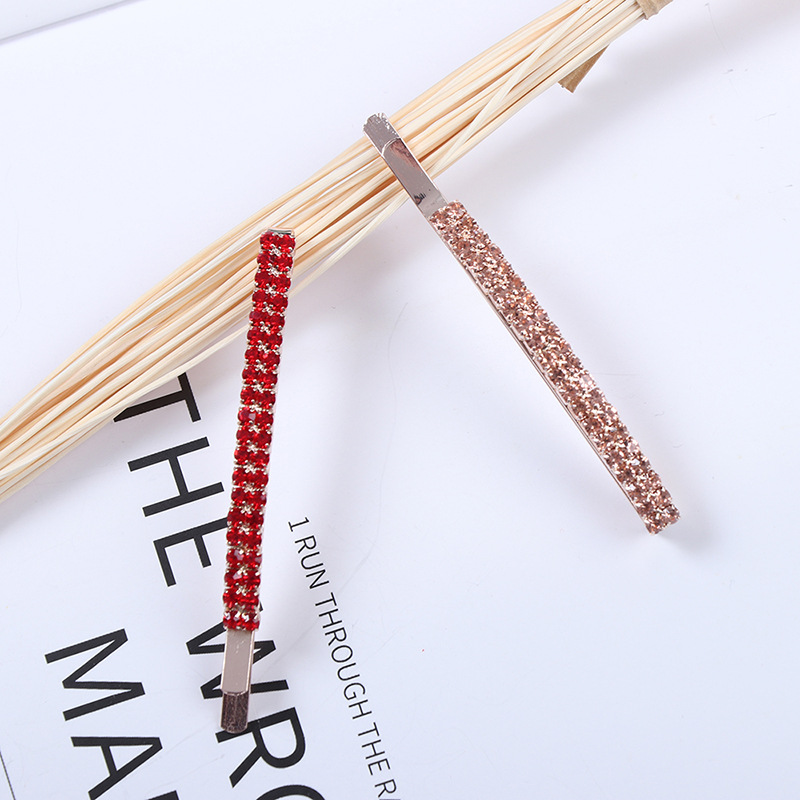 Fashionable simple double-row colorful rhinestone hairpin hair clip accessories girl