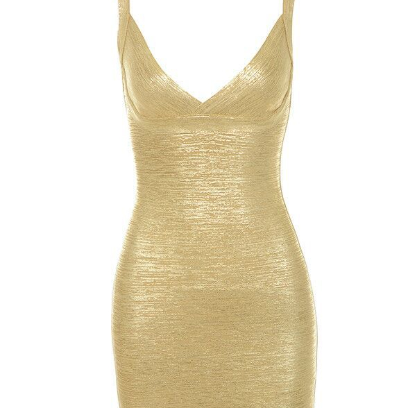 Wholesale woman Fashion Summer <strong>V</strong> neck Golden Sexy Bandage Evening Dresses