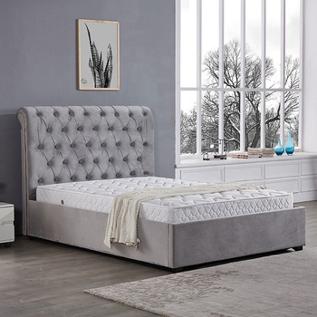 king size grey colour bedroom furniture welvet bed fabric upholstered folding ottoman storage bed