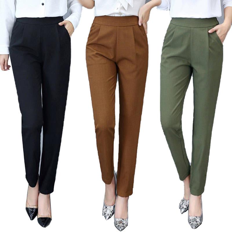 उच्च कमर शरद ऋतु सीधे पैर ढीला पतलून कार्यालय लेडी सूट पैंट महिलाओं आकस्मिक पतलून